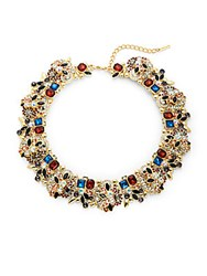 Saks Fifth Avenue Holiday Statement Crystal Necklace Gold Multi
