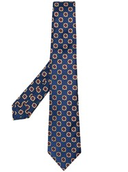 Kiton Embroidered Flowers Tie Blue