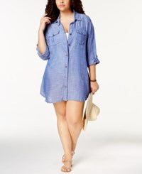 Dotti Plus Size Cotton Cabana Life Shirtdress Cover Up Women's Swimsuit Blue