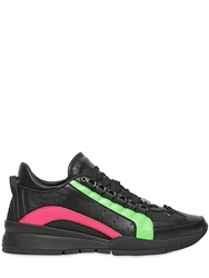 Dsquared Neon Leather Sneakers Black Pink Fluo