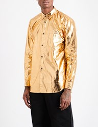 Comme Des Garcons Regular Fit Cotton Blend Metallic Shirt Gold