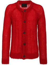 Prada Ribbed Knitted Cardigan Red