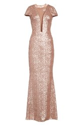 Dress The Population Michelle Sequin Gown Rose Gold