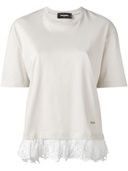 Dsquared2 Lace Effect Fringed T Shirt Nude And Neutrals