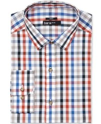 Bar Iii Men's Slim Fit Stretch Easy Care Quatro Twill Gingham Dress Shirt Only At Macy's Rust Tan