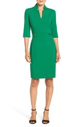 Tahari Women's Bi Stretch Sheath Dress Green