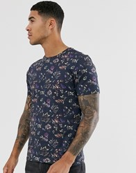 Selected Homme Floral Graphic Print T Shirt In Black