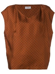 Alberto Biani V Neck Spot Blouse Brown