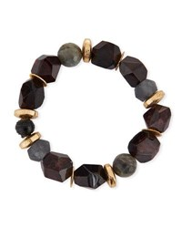 Akola Pica Beaded Druzy Stretch Bracelet Black Red