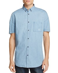 Zanerobe Distressed Denim Slim Fit Button Down Shirt Light Denim