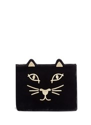 Charlotte Olympia 'Kitty' Embroidered Velvet Pouch Black