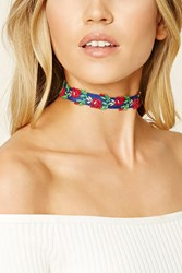 Forever 21 Rose Embroidered Choker Navy Red