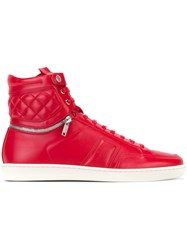 Saint Laurent Side Zip Hi Top Sneakers Red