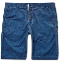Massimo Alba Garment Dyed Corduroy Shorts Blue