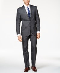 Marc New York By Andrew Men's Classic Fit Medium Gray Windowpane Suit Grey