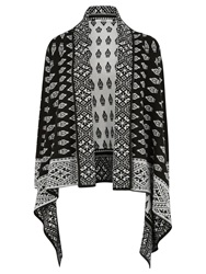 Oasis Folk Waterfall Cardigan Black And White