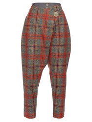 Vivienne Westwood Flap Dropped Crotch Tartan Wool Trousers Grey Multi