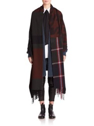 Acne Studios Vivianna Plaid Shawl Scarf Dark Green