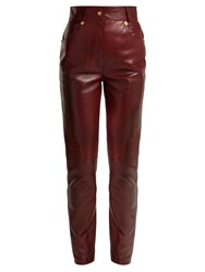 Versace Medusa Buttoned Leather Trousers Brown