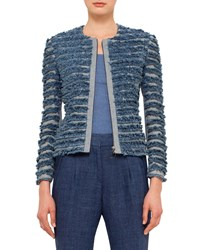 Akris Punto Denim Fringe Zip Front Jacket Bleached Denim Bleched Denim