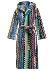 Missoni Home Zigzag Hooded Cotton Robe Blue Multi