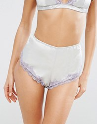 Asos Skye Satin And Lace French Knicker Mint Green