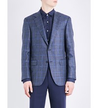 Canali Checked Wool Blend Jacket Grey