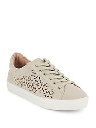 Joie Laser Cutout Leather Sneakers Parchment