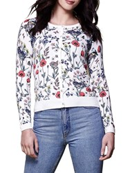 Yumi Floral Knitted Cardigan Ivory