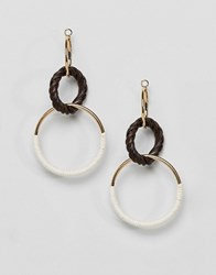 Stradivarius Triple Hoop Link Earrings Multi