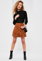 Missguided Brown Faux Suede A Line Button Through Mini Skirt