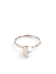 Melanie Georgacopoulos White Pearl And White Gold Ring