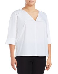 Lord And Taylor Plus Tie Accented Blouse White