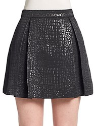 Romeo And Juliet Couture Pleated Jacquard Knit Mini Skirt Black