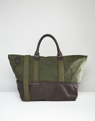 Asos Holdall In Canvas With Contrast Trim Khaki Green