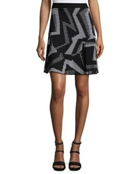 M Missoni Ribbed Geometric Patterned Fit And Flare Skirt Black