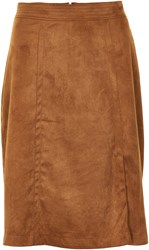 Soaked In Luxury Faux Suede Long Skirt Brown