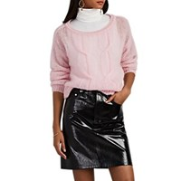 Lisa Perry Fuzzy Mohair Blend Open Cable Knit Sweater Pink