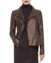 Akris Punto Metallic Leather Moto Jacket