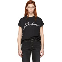 Balmain Black Signature Logo T Shirt