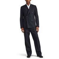 Maison Martin Margiela Pinstriped Wool Double Breasted Suit Black