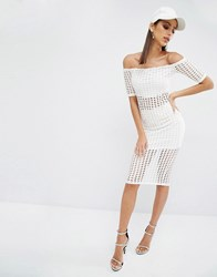 Kendall And Kylie Laser Cut Skirt White