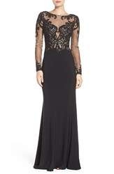 La Femme Women's Embellished Illusion Gown