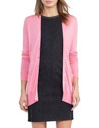 Lauren Ralph Lauren Cotton Blend V Neck Cardigan Peace Rose