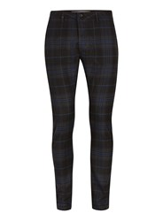 Topman Black And Navy Check Stretch Skinny Chinos