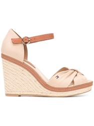 Tommy Hilfiger Buckled Wedge Sandals Women Leather Tactel Rubber 40 Nude Neutrals