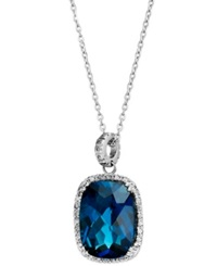Macy's 14K White Gold Necklace London Blue Topaz 15 Ct. T.W. And Diamond 1 4 Ct. T.W. Rectangle Pendant