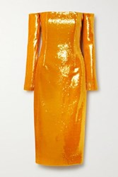 Sally Lapointe Off The Shoulder Sequined Stretch Knit Midi Dress Orange