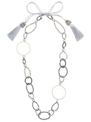 Night Market Bead And Ring Long Necklace Brass Stone Metallic