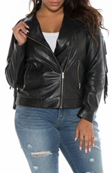 Slink Jeans Plus Size Women's Fringe Leather Jacket